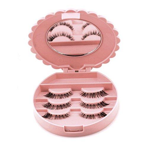 False Eyelash Storage Box, BeautyVan Acrylic Cute Bow Eyelash Storage Box Makeup Cosmetic Mirror Case Organizer