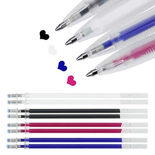 BUZIFU 12 Stück Hitze Löschbar Stifte für Stoff mit 8 Minen Durch Wärme abwischbare Markierung Stifte für Schneider Nähen Quilten Schneiderei, 4 Farben Hitze Abwischbare Stifte