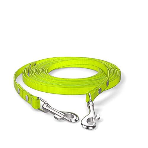 SNOOT 5m Schleppleine, Hundeleine, 2 Karabiner & D-Ring, Neon-Gelb, extra schmal, schmutz- und wasserabweisend