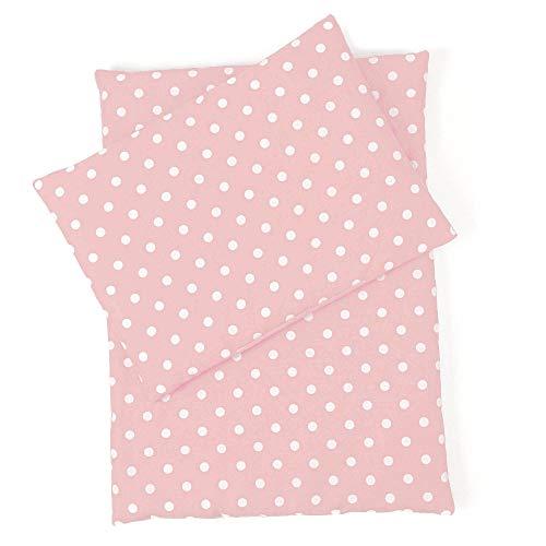 Sugarapple Little Puppenbettwäsche 3-teilig für Puppen Größe 36 cm - 44 cm, Öko Tex Standard, (rosa Pünktchen weiß)