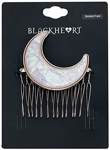 Blackheart Moon Mujer Pasador Blanco/Oro, Hierro, Zinc,
