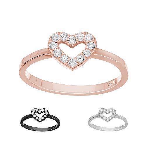 Treuheld Ring - 925 Silber - Herz - Kristalle [25.] - Rosegold 48