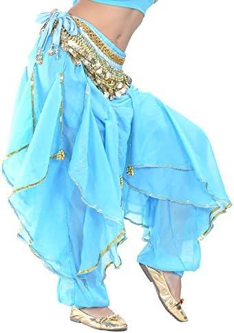 BellyLady Belly Dance Harem Pants Tribal Baggy Arabic Halloween Pants Lakeblue product image