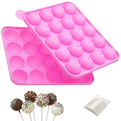 20 Cavity Cake Pop Mold Silicone Baking Set, Pink Cake Pop Maker with 100Pcs Pop Sticks