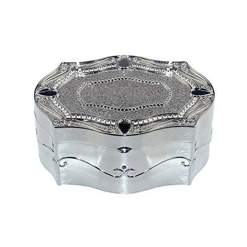 JOMSK Vintage Metall Schmuckschatulle Hohe Qualität Hexagonal Jewelry Box-Zink-Legierung Schmuckkasten Metal Jewelry Box-Feiertags-Geburtstag-Geschenk (Color : Silver, Size : 12.5x10.1x5.1 cm)