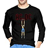 tee Camiseta ACDC Cartoon Mans T Shirt Round Neck Print Long Sleeve tee Tops Black