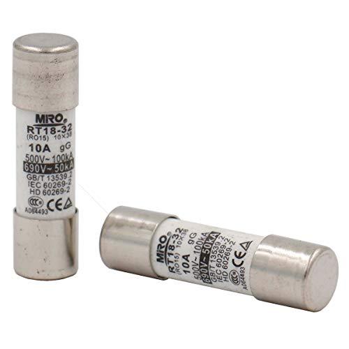 10 Stück Heschen Keramikrohr-Sicherungsstutzen RT18-32 (RO15) 10 x 38 mm 10A 500V CE TüV