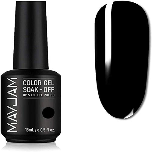 MAYJAM Gel Nagellack 15ML Gel Nägel UV LED Soak Off Gel Polish Semi-Permanent Nail Polish Maniküre Salon DIY zu Hause - Nagellack ja Ideal für Vier Jahreszeiten und Geschenk - Klassisches Schwarz