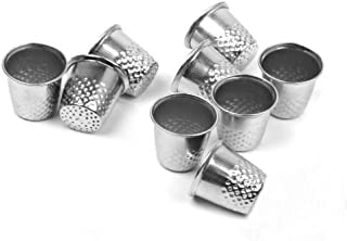 VNDEFUL 10 PCS Silver Metal Sewing Thimbles,Shield Sewing Grip Protector Pin Needle Shield for DIY Crafts (19x18mm)
