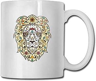 Tasse à café 11 oz en céramique blanc tasse à café Floral Tribal Lion Head spécial. Anniversaire hommes et femmes, maman, ...