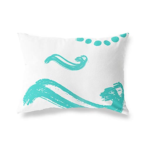BonaMaison - Funda de cojín con diseño de Turquesa, Color Blanco