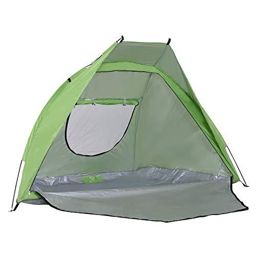 Outsunny Tente de Plage abri de Plage Pliable dim. 2,30L x 1,40l x 1,27H m fenêtre Sac Transport inclu Polyester Vert