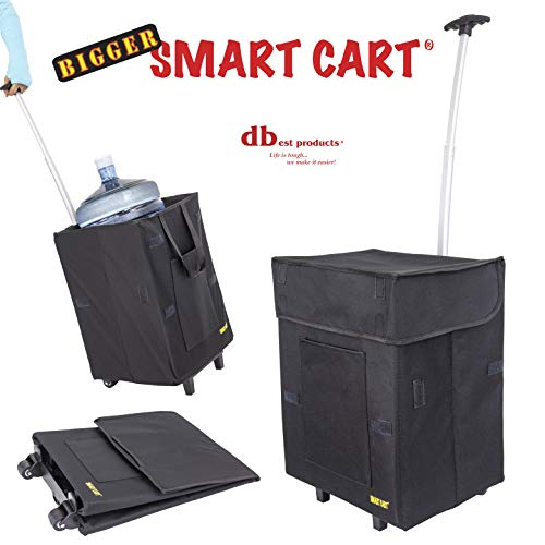 dbest products Bigger Smart Cart, Black Collapsible Rolling Utility Cart Basket Grocery Shopping Teacher Hobby Craft Art