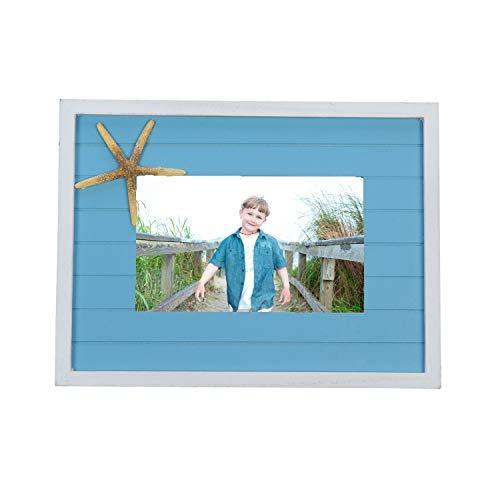 Beachcombers Slat w/Starfish 9.75 x 1 x 7.25 inch Wood Wall Hanging Photo Frame, Blue