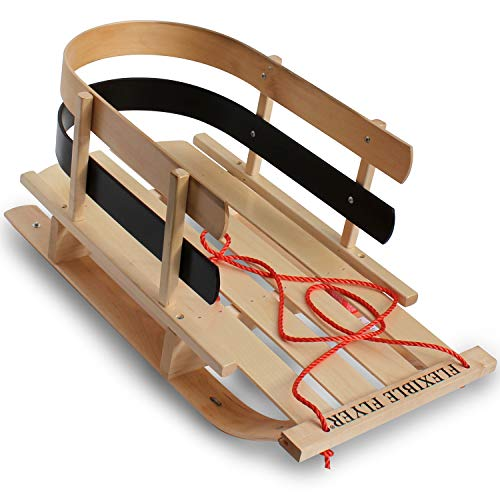Flexible Flyer BCL-40 Premium Baby Sleigh. Toddler Boggan. Wooden Pull Sled for...