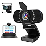 HD 1080P Webcam with Microphone and Privacy Cover, Akyta USB Web Computer Camera, 110 Degree Wide Angle, Desktop PC Laptop Streaming Webcam for MAC Zoom YouTube Teams Video Conference/Call/Recording