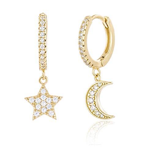 Brandlinger ® Atelier Ohrringe mit Mond und Stern Anhänger aus vergoldetem 925 Sterling Silber für Frauen und Mädchen. Durchmesser der Creole 12 mm (Gold (Mond/Stern Zirkonia))