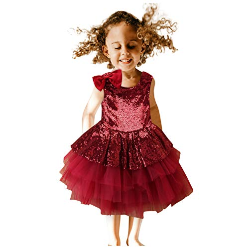 Vestido de Novia de Fiesta con Lazo Lentejuelas Sin Mangas Encaje Plisada Vestidos de Niña Princesa Ropa Bebe Recien Nacido Niña (Vino Rojo, 12-24 Meses)