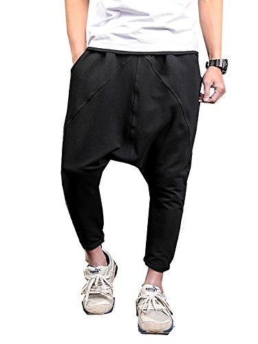 LifeShe Men Hip Hop Baggy Harem Low Crotch Pants Joggers Sweatpants (Large, Black)