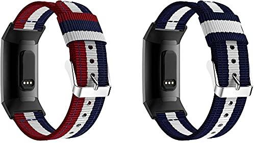Gransho Correa de Reloj de NATO Nailon Compatible con Fitbit Charge 4 / Charge 4 SE/Charge 3 SE/Charge 3, Mujer y Hombre, Hebilla de Acero Inoxidable (Pattern 1+Pattern 3)