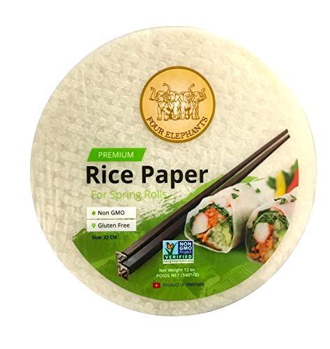 Four Elephants Premium Spring Roll Rice Paper Round Non-GMO Verified 22 CM (1)