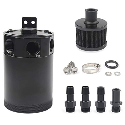 CUHAWUDBA Universal Racing Baffled 3-Port Oil Catch Can Tank Separador de Aceite con Válvula Removible