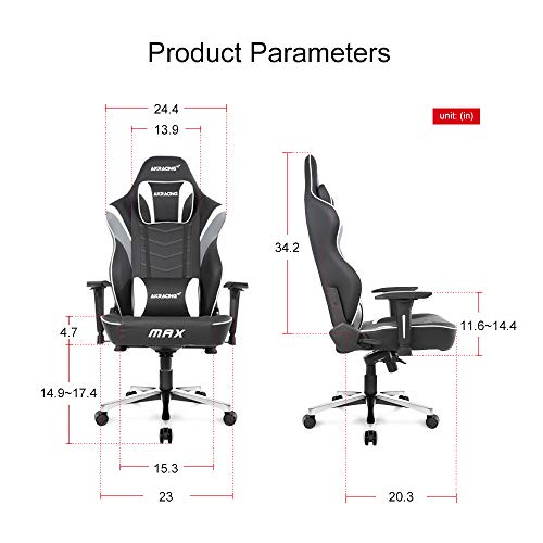 AKRacing Masters Series Max Gaming Chair with Wide Flat Seat, 400 Lbs Weight Limit, Rocker and Seat Height Adjustment Mechanisms - White