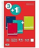 Miquelrius – Set risparmio 3 + 1 – Quaderno a spirale con copertina in cartone a righe, dimensioni 215 x 310 mm, 80 fogli da 90 g/m², quadretti da 4 mm con margine, colori intensi