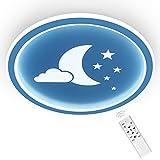 ANTEN Moonpie I 24W LED Lampara Infantil Techo Habitación niño I plafones Con Mando A Distancia I Azul I Plano de 4,5 cm I Ø 30cm I Regulable y Temperatura De Color Continuamente Regulable 3000-6500K