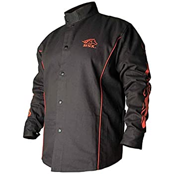 BSX Flame-Resistant Welding Jacket - Black with Red Flames Size 3X-Large