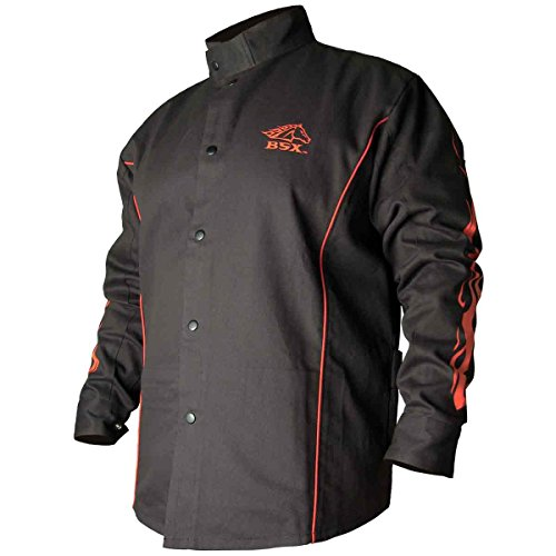 BSX BX9C Black W/Red Flames Cotton Welding Jacket - XL