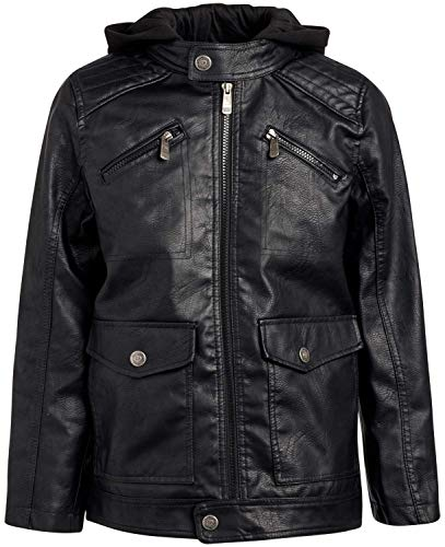 Urban Republic Boys Faux Leather Jacket with Fleece Hoodie, Size 18/20, Black W/Black Hood
