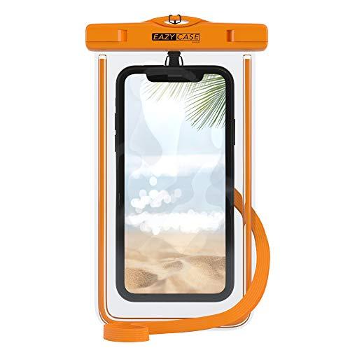 EAZY CASE wasserdichte Handytasche für Alle Smartphones bis 6 Zoll, schützt vor Staub, Sand, Schnee, Dreck, Wasser I Schutzhülle mit Umhängeband, IPX8 Zertifiziert, Transparent/Orange