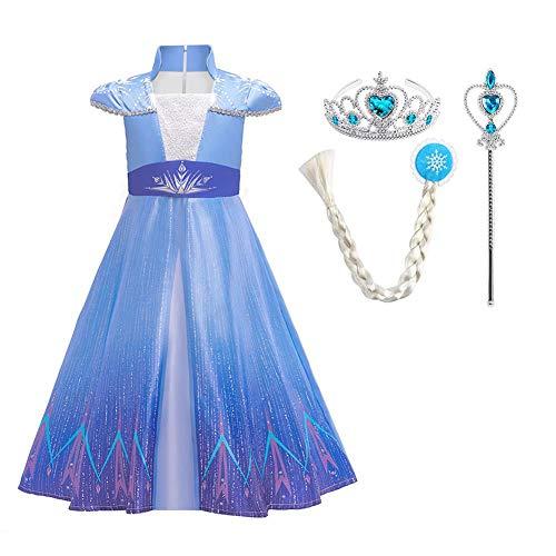 IWEMEK Disfraz de princesa Elsa Anna para niña, 2 unidades, disfraz de Frozen, disfraz de reina de las nieves, para Navidad, carnaval, fiestas, Halloween, 3-15 años 07 Blue Set 4-5 Años