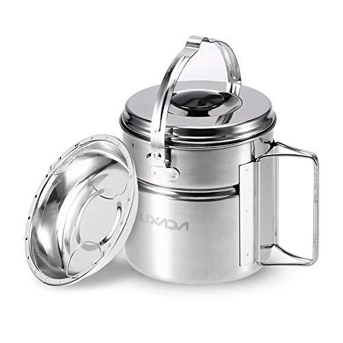 Lixada Camping Cookware, Pot de Camping en Acier Inoxydable avec poignée Pliable pour Plat de Cuisson à la Vapeur Interne