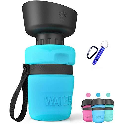 ZONSUSE Tragbare Haustier Wasserflasche, 520ml Hunde Wasserflasche, Hundetrinkflasche für unterwegs, BPA Frei, für Camping, Spaziergang, Wandern, (Blau)