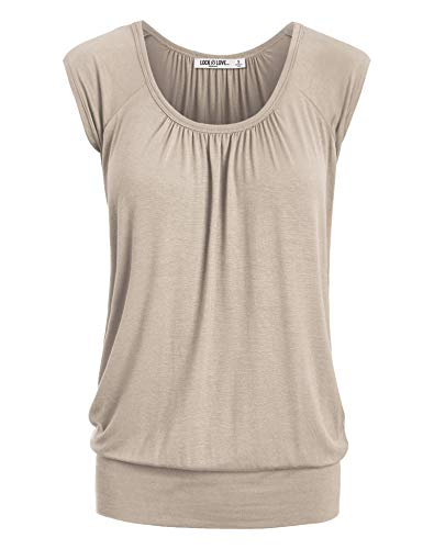 LL WT1054 Womens Solid Short Sleeve Sweetheart Top M Taupe