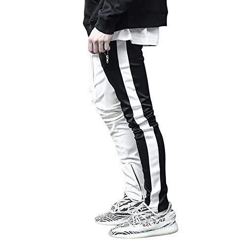 Musgneer(マスリエ) ジョガーパンツ メンズ トレーニングパンツ ジム スキニー ラインパンツ スリム スウェットパンツ 2色 ホワイト+ブラック 1XL