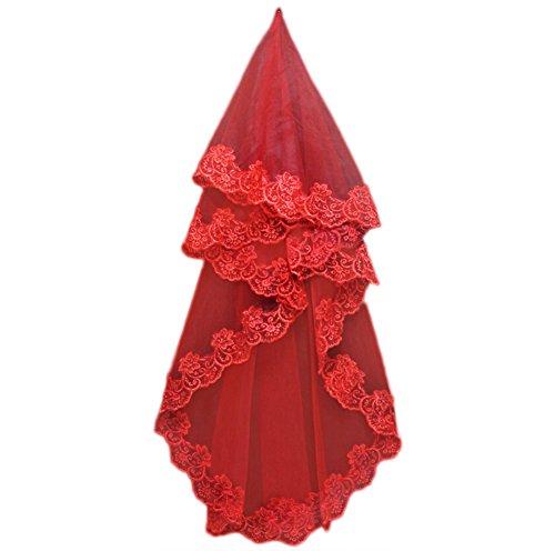 JUNGEN Spitze Brautschleier Kleid Braut Hochzeitsdekoration Zubehör 150cm, Rot (Rot-150cm)