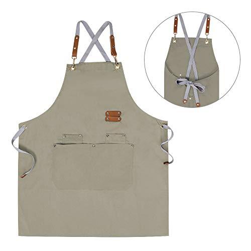 Chef ApronCross Back Apron for Men Women with Adjustable Straps and Large PocketsCanvasMXXLBeige