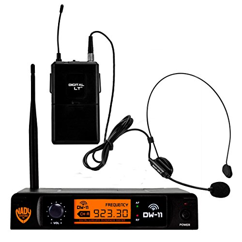 """Nady DW-11 Digital Wireless Headset Microphone System with HM-3 Unidirectional Headmic – Ultra-low latency with QPSK modulation - XLR and ¼"""" outputs – UHF range"""