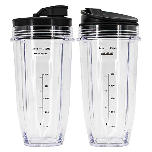 Nutri Ninja 24 oz Cups, Ninja Pro Replacement Cups with Sip & Seal Lid Compatible with BL450 BL454 BL456, BL480, BL490, BL640, BL642, BL680 BL687 for Nutri Ninja Auto IQ Series Blenders (Pack of 2)