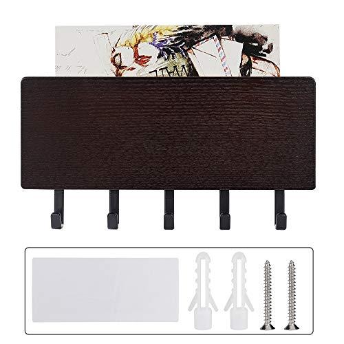 ISIYINER Range clé Mural Porte-courrier avec Crochets Porte clé avec Surface de Rangement pour mémos Lettres Prospectus pour Entrées Cuisine et Couloir