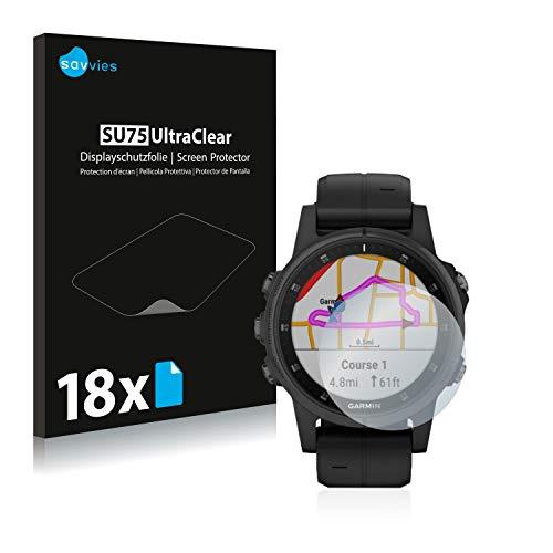 Savvies 18x Schutzfolie kompatibel mit Garmin Fenix 5S Plus (42 mm) Bildschirmschutz-Folie Ultra-transparent