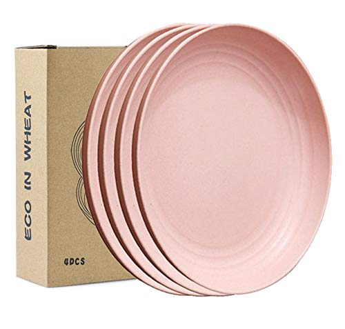 JUCOXO 4 Pack 7.9' Unbreakable Dinner Plates - Microwave Safe Wheat Straw Plates - Lightweight & Degradable BPA free Dishwasher Safe Plates for Kids,Children,Toddler & Adult Fruit Snack Containe