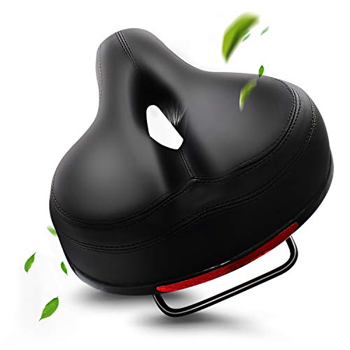 EXPPAN Bike Seat, Most Comfortable Bicycle Seat Dual Shock Absorbing Memory Foam Waterproof Bicycle Saddle Bike Seat Replacement with Refective Tape
