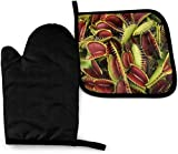 Seiobax Juegos de Manoplas y Porta ollas para Horno de Plantas carnívoras, Guantes de Cocina Antideslizantes Resistentes al Calor, Guantes de c