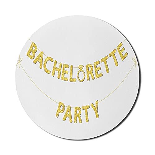 Bachelorette Mauspad für Computer, Party Bunting in Gelb Golden Tone Verlobungsring, rundes rutschfestes dickes Gummi Modern Gaming Mousepad, 8 'rund, Senfgelb