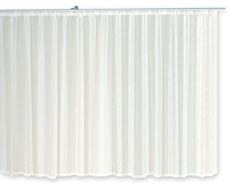 Haus und Deko Gardine Kräuselband Emotion weiß transparent 300 x 145 cm Organza Vorhang klassisch kurz mittel oder lang Voile Store