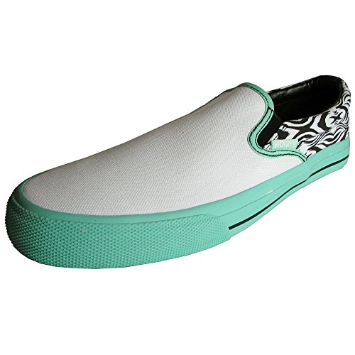 Vision Street Wear Womens Aztec Slip On Skate Shoe, White/Spearmint, US 7.5